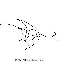 exoticas, logotipo, linha, contínuo, peixe
