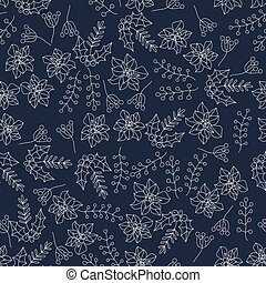 Christmas botanical seamless pattern with holly berries....