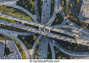 Downtown Los Angeles Aerial Hollywood and Harbor Freeways Interchange