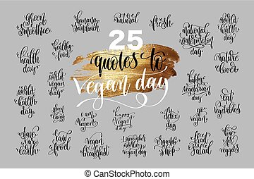 set of 25 hand lettering quotes to 1 november world vegan day