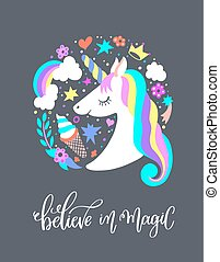 believe in magic - art poster with unicorn, ice cream,...