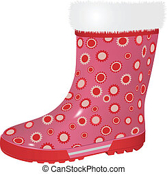 pink rubber boots - vector pink rubber boot on white...