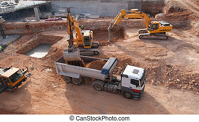 Construction Site - Construction site with bull dozer and...