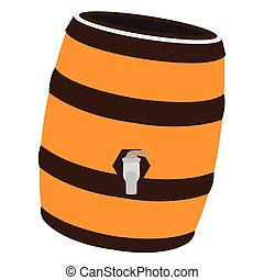 Isolated beer barrel - Isolated beer wooden barrel on a...