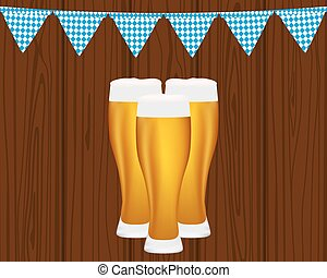 Beer and flags for the Oktoberfest Festival vector