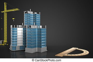 3d of city quarter construction - 3d illustration of city...