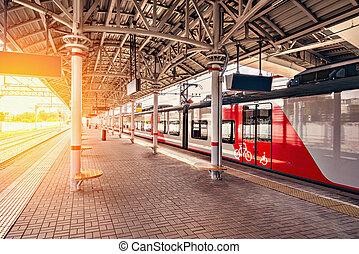 Highspeed train stands at the platform. - Highspeed train...
