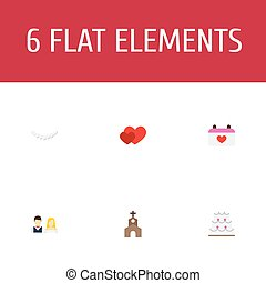 Flat Icons Calendar, Patisserie, Building And Other Vector Elements. Set Of Engagement Flat Icons Symbols Also Includes Love, Day, Building Objects.