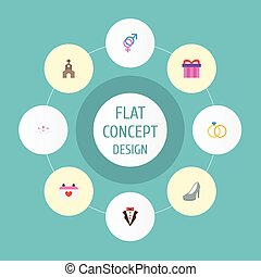 Flat Icons Building, Bridegroom Dress, Sandal Vector Elements. Set Of Marriage Flat Icons Symbols Also Includes Sandal, Groom, Day Objects.