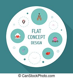 Flat Icons Accessories, Bridegroom Dress, Chariot And Other Vector Elements. Set Of Ceremony Flat Icons Symbols Also Includes Chariot, Dress, Heart Objects.
