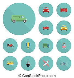 Flat Icons Transport, Boat, Omnibus And Other Vector...