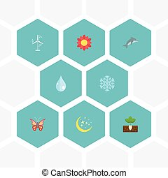Flat Icons Water, Electric Mill, Night And Other Vector Elements. Set Of Environment Flat Icons Symbols Also Includes Dolphin, Winter, Sprout Objects.