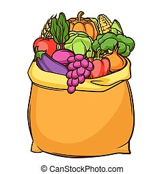 Harvest illustration of bag with seasonal fruits and vegetables