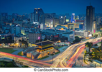 Seoul. - Image of Seoul downtown with Dongdaemun Gate during...