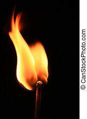 Macro of burning match on black background