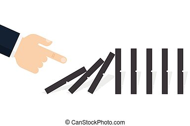 Hand pushing the domino. Domino effect. Vector illustration....