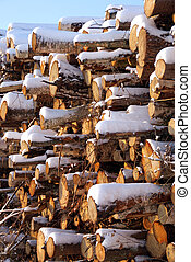 Stacked Firewood in Winter Snow - A large stack of firewood,...