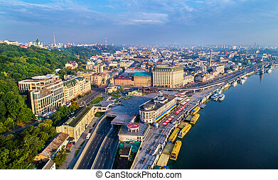 Aerial view of River Port, Podil and Postal Square in Kiev,...