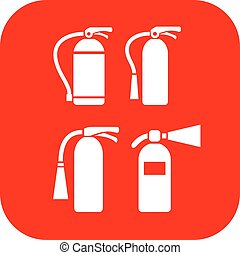 Fire extinguisher vector icons