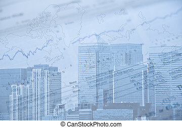 London financial district image with brands removed and...