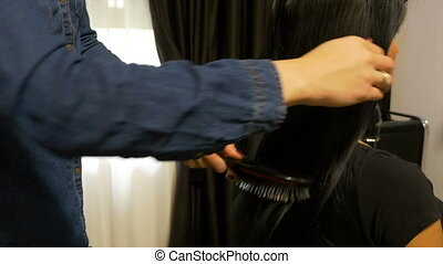 Hairdresser brushing the hair of a woman sitting in front of...