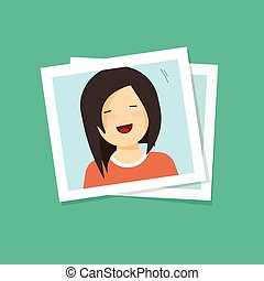 Photo frame with smiling happy girl flat cartoon vector...