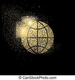 World gold glitter art concept symbol illustration