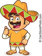 Mexican man giving thumbs up - Clipart picture of a mexican...
