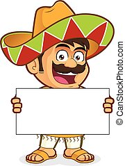 Mexican man holding a blank sign - Clipart picture of a...