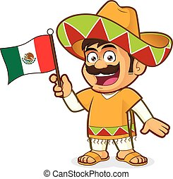 Mexican man holding a mexican flag - Clipart picture of a...