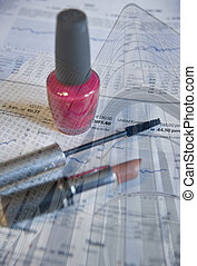 Business concept image coposite of women in business with nail varnish, lipstick and mascara against stock graph and modern office buildings