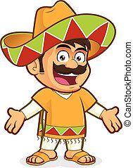 Mexican man in welcoming gesture - Clipart picture of a...