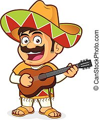 Mexican man playing guitar - Clipart picture of a mexican...