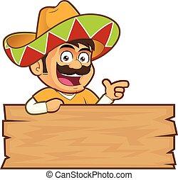 Mexican man with a wooden sign - Clipart picture of a...