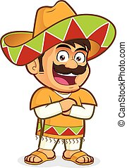 Mexican man with folded hands - Clipart picture of a mexican...