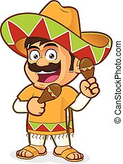 Mexican man with maracas - Clipart picture of a mexican man...