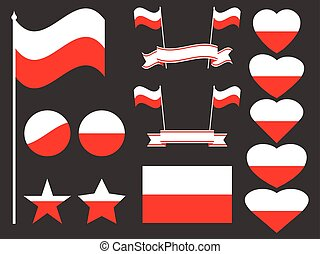 Poland flag set. Collection of symbols, flag in heart. Button and star. Vector illustration