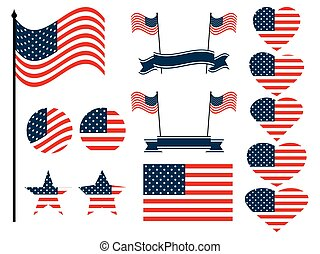 American flag set. Collection of symbols with the flag of the United States of America. Vector illustration