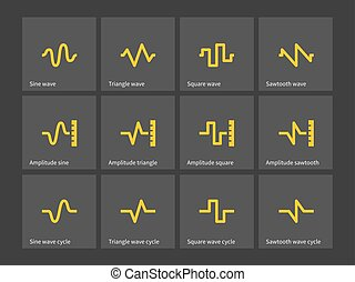 Sine, Triangle, Square, Sawtooth wave types icons. - Sine,...