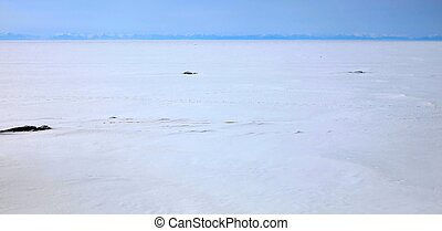 Frozen Lake Baikal - Ice dessert. Frozen Lake Baikal....