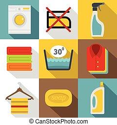 Washing colorful clothes icons set, flat style - Washing...