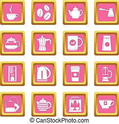 Tea and coffee icons pink - Tea icons set in pink color...