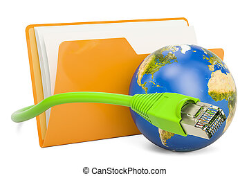 Computer folder icon with lan internet cable, 3D rendering...