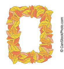 Autumn Rectangle frame isolated. Yellow leaves background