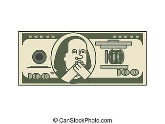 Dollar OMG portrait Franklin. USA money. American. Oh my god...