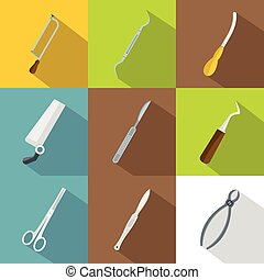 Doctor tools icons set, flat style - Doctor tools icons set....