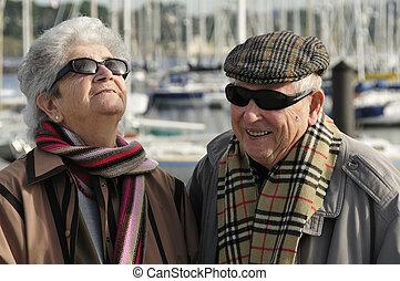 Old happy senior couple