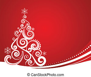 Red Christmas template with swirly tree