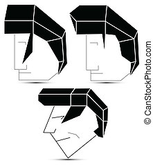 abstract heads - elvis style vector hair heads