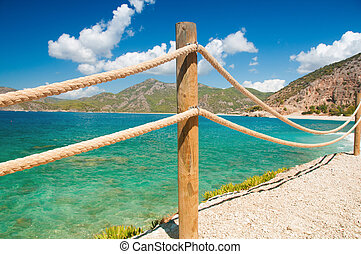 banister railing on marine rope and wood Moraira Mediterranean sea